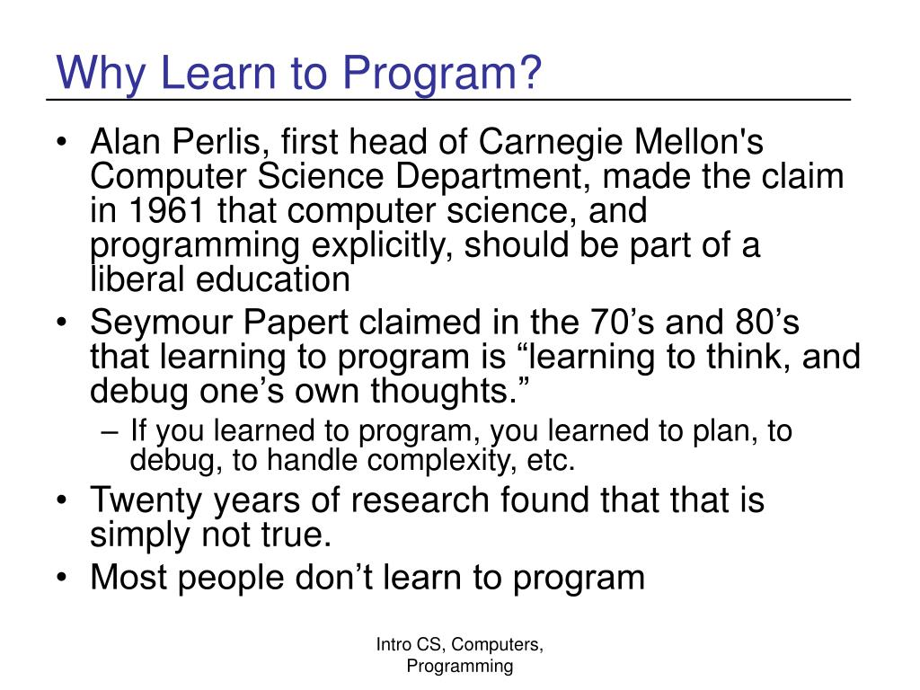 Why Learn to Program?