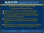 the role of clinical trials for the treatment of breast cancer