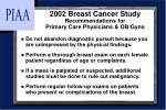 2002 breast cancer study recommendations for primary care physicians ob gyns