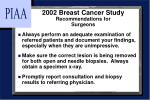 2002 breast cancer study recommendations for surgeons
