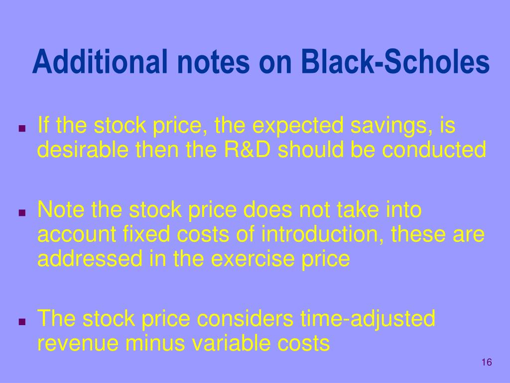 Additional notes on Black-Scholes