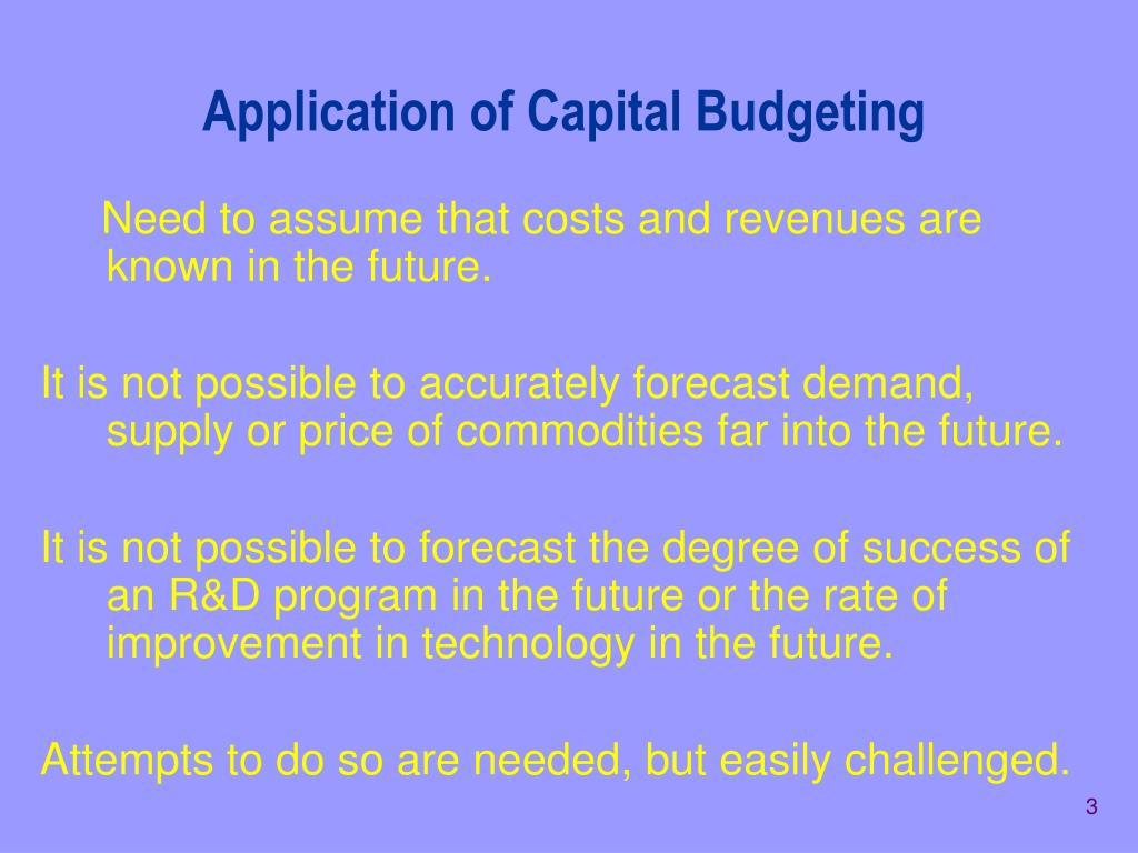 Application of Capital Budgeting