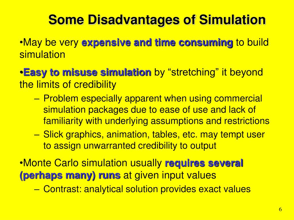 Some Disadvantages of Simulation