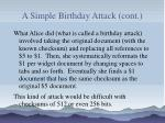 a simple birthday attack cont91