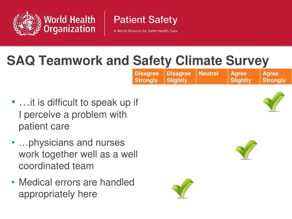SAQ Teamwork and Safety Climate Survey