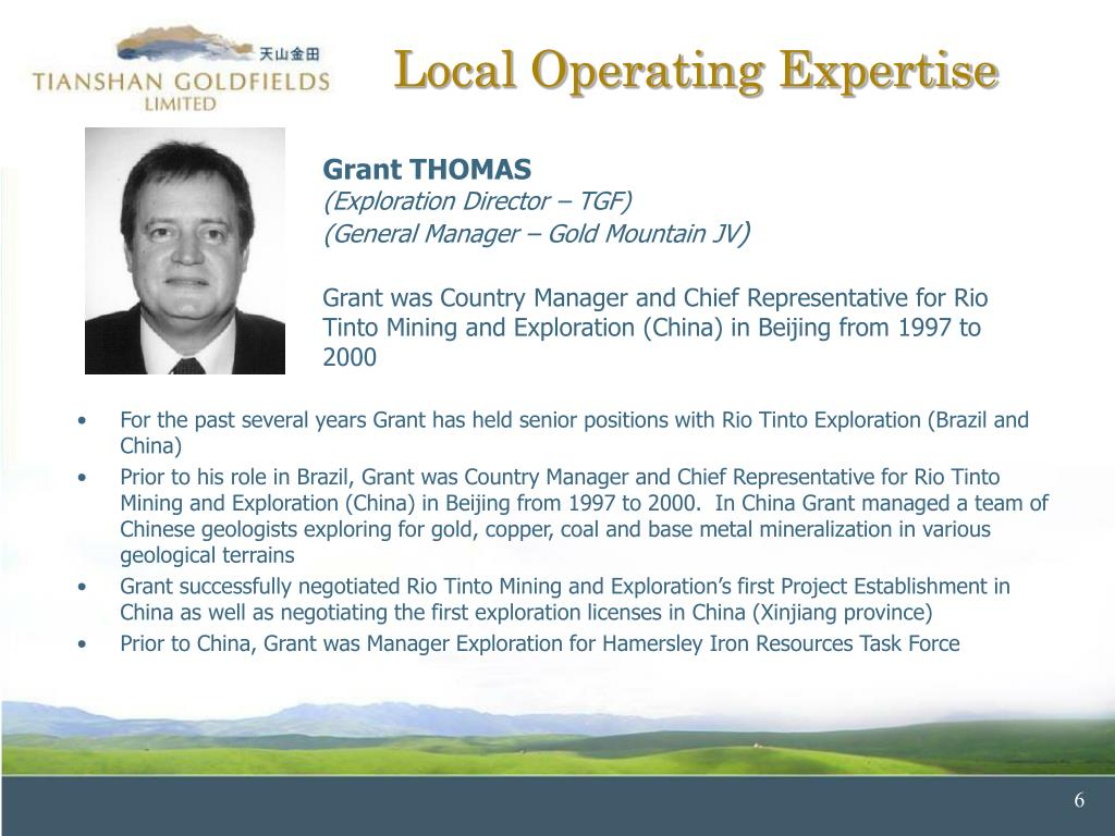 For the past several years Grant has held senior positions with Rio Tinto Exploration (Brazil and China)
