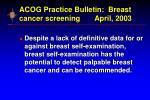 acog practice bulletin breast cancer screening april 2003
