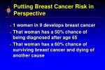 putting breast cancer risk in perspective12