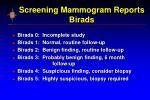 screening mammogram reports birads