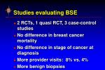 studies evaluating bse