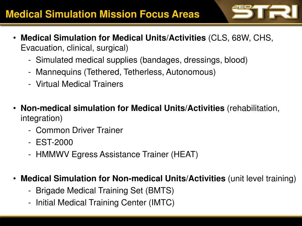 Medical Simulation Mission Focus Areas
