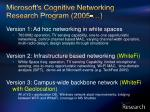 microsoft s cognitive networking research program 2005