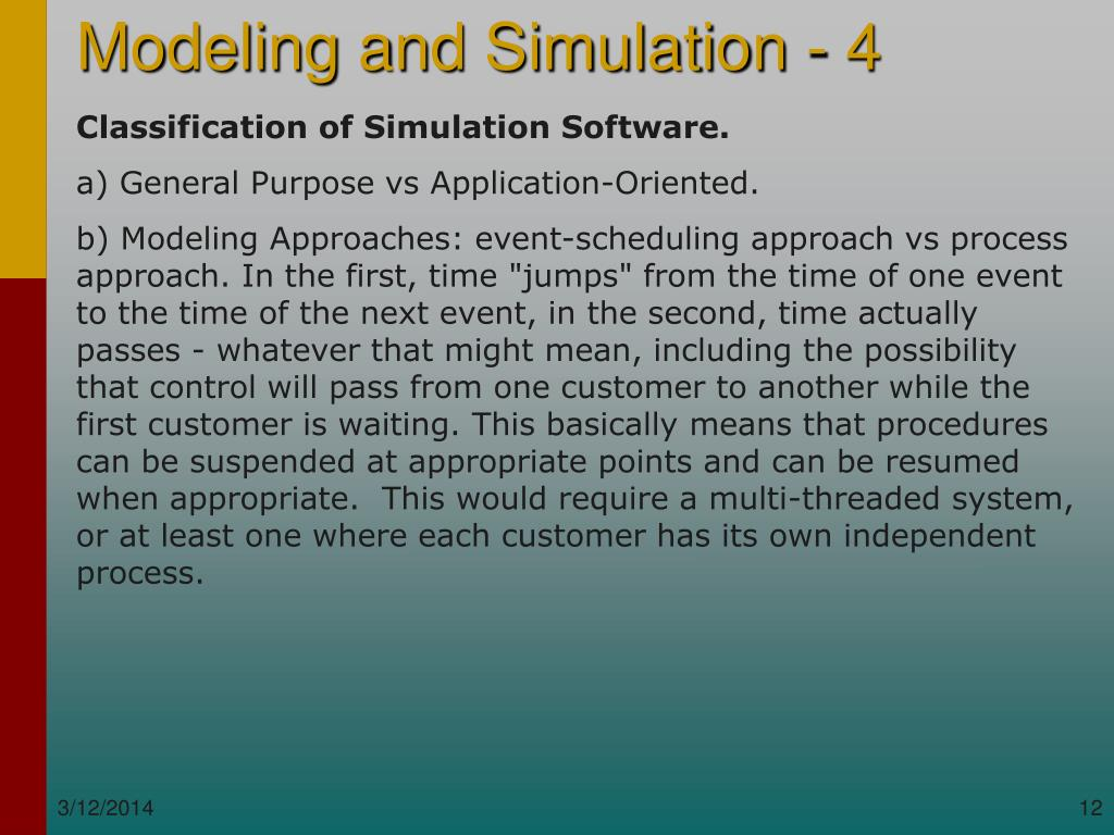 Classification of Simulation Software.