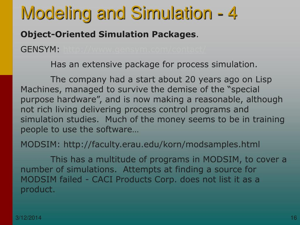 Object-Oriented Simulation Packages