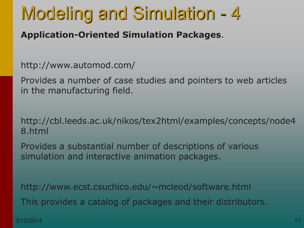 Application-Oriented Simulation Packages