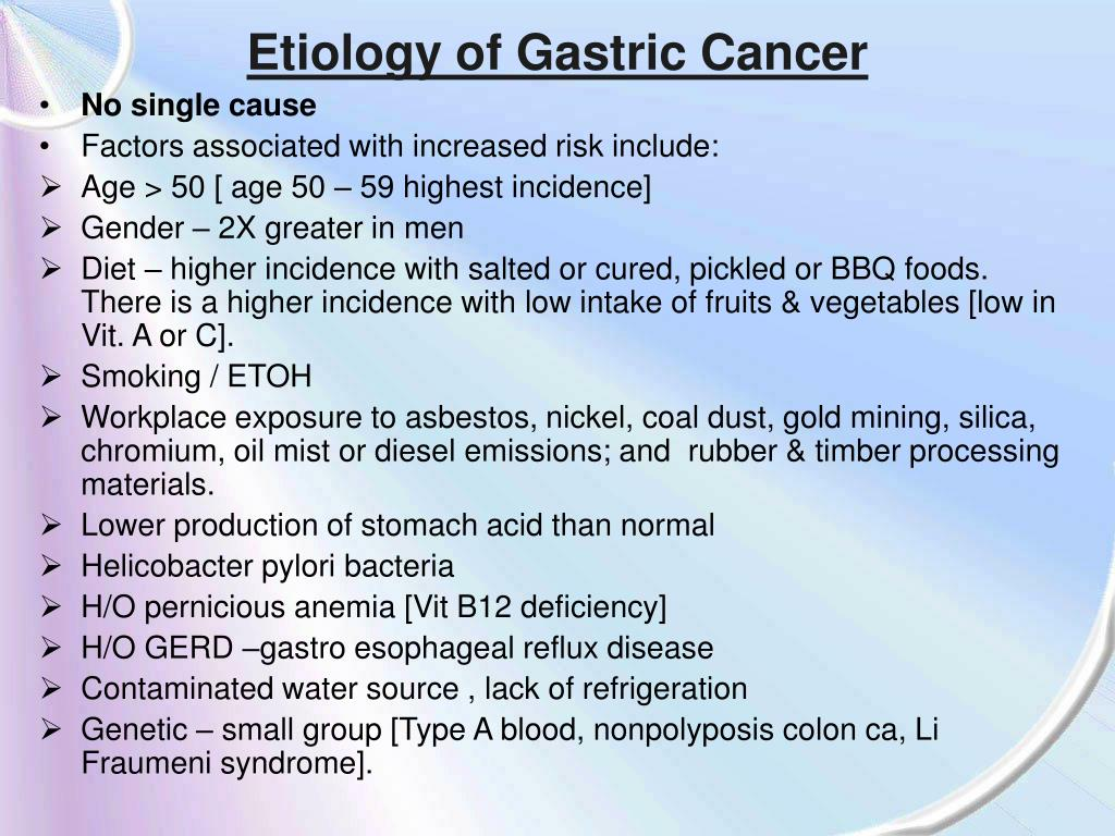 Etiology of Gastric Cancer