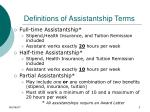 definitions of assistantship terms
