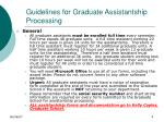 guidelines for graduate assistantship processing