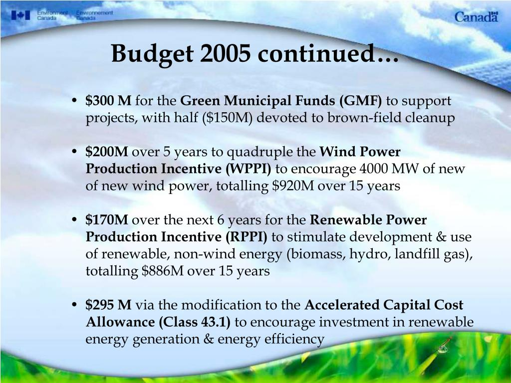 Budget 2005 continued…