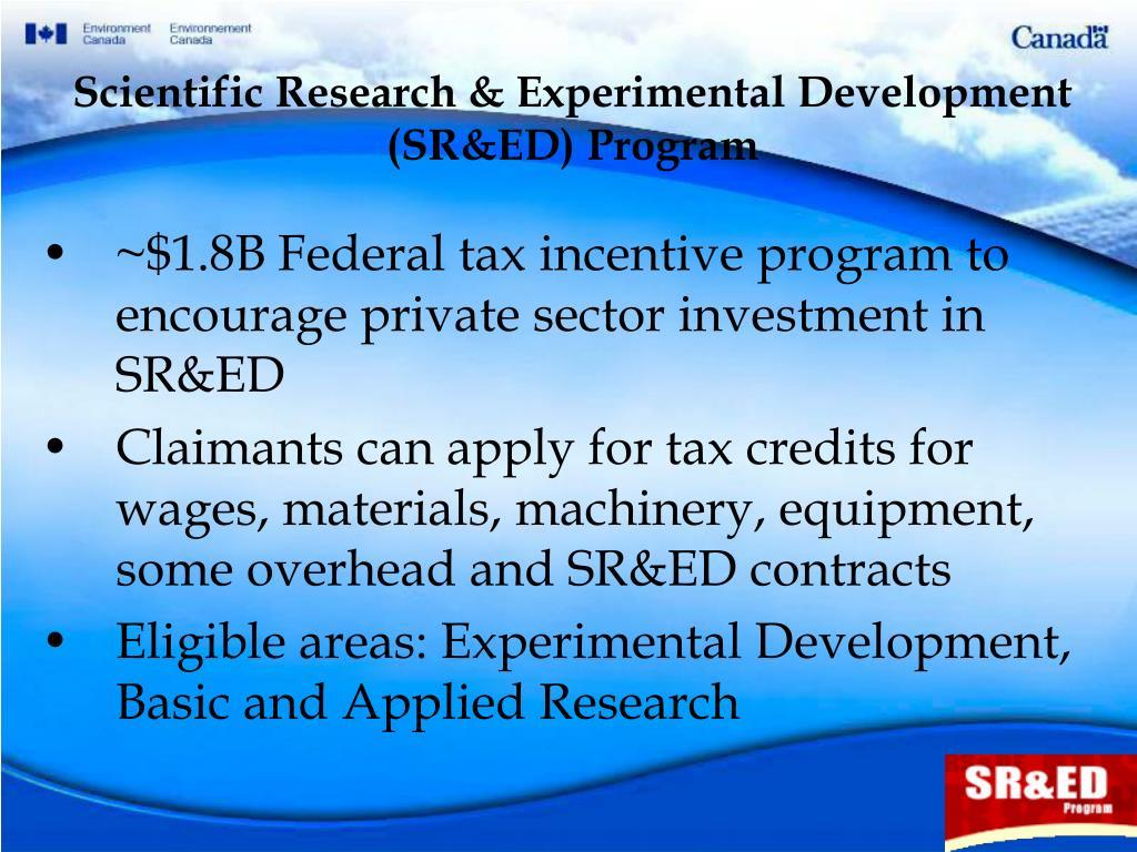 Scientific Research & Experimental Development (SR&ED) Program