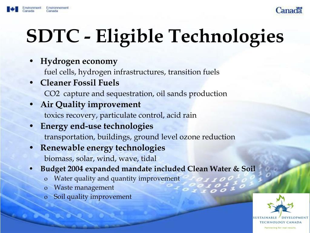 SDTC - Eligible Technologies