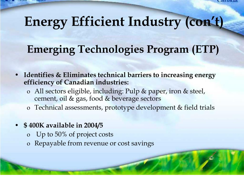 Energy Efficient Industry (con't)
