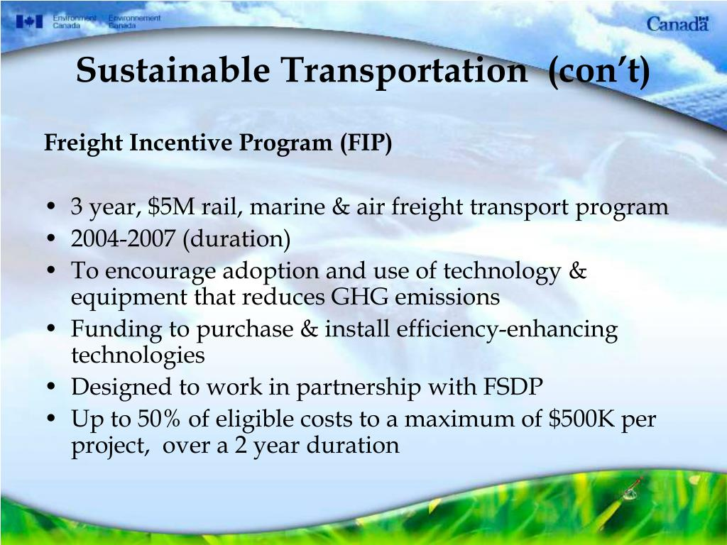 Sustainable Transportation  (con't)