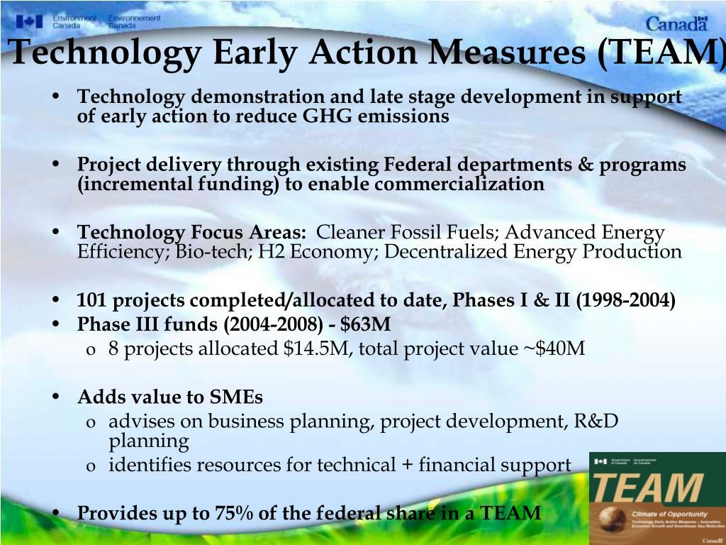 Technology Early Action Measures (TEAM)
