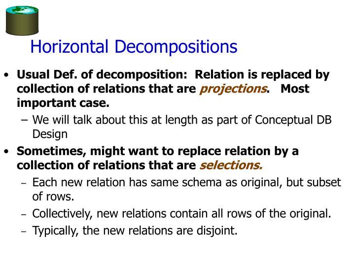Horizontal Decompositions