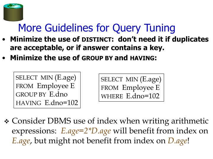 More Guidelines for Query Tuning