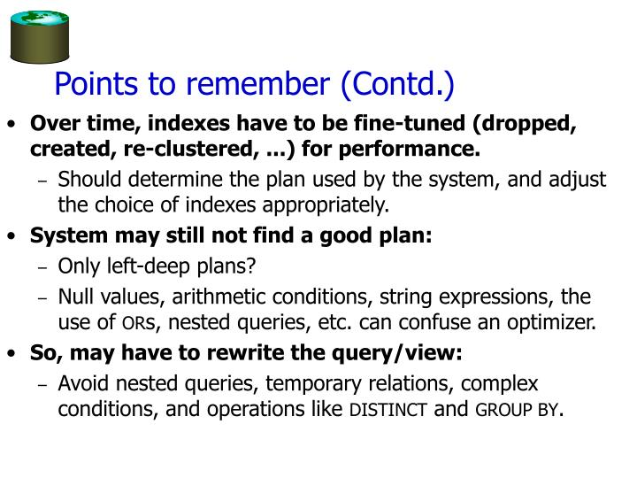 Points to remember (Contd.)