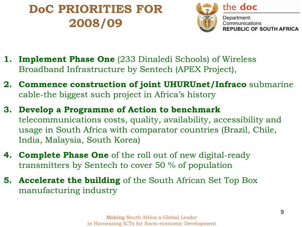DoC PRIORITIES FOR 2008/09