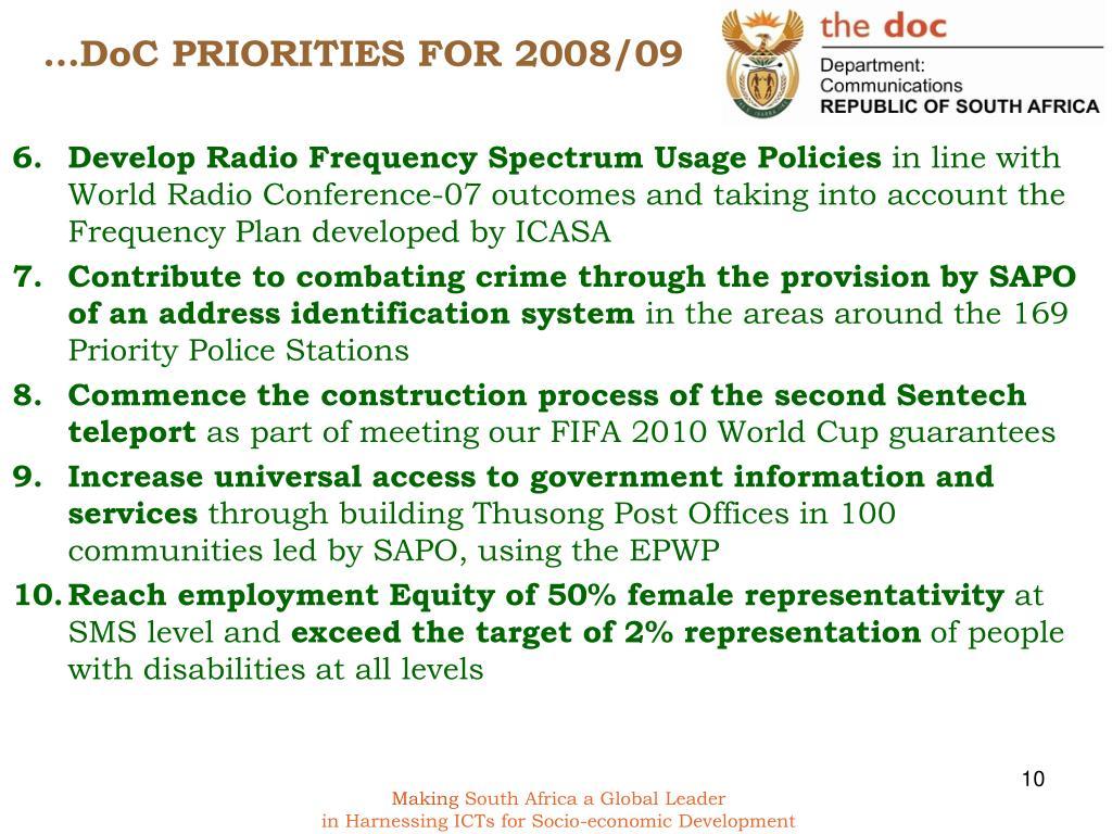…DoC PRIORITIES FOR 2008/09