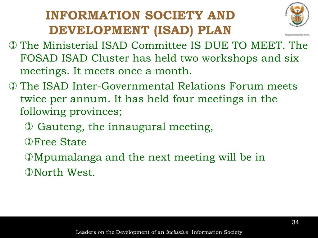 INFORMATION SOCIETY AND DEVELOPMENT (ISAD) PLAN