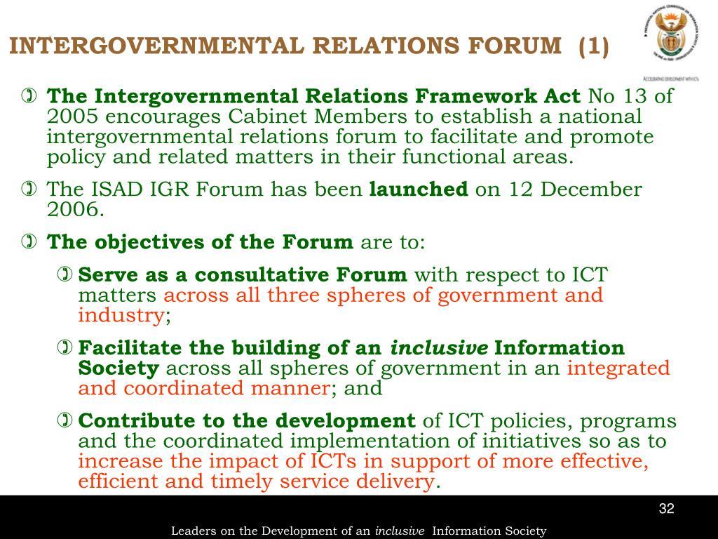 The Intergovernmental Relations Framework Act