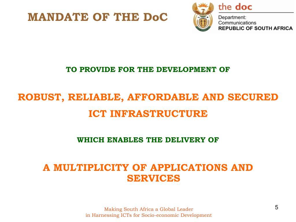 MANDATE OF THE DoC