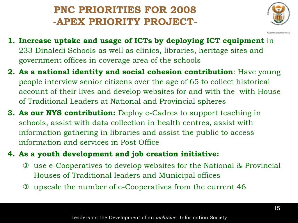 PNC PRIORITIES FOR 2008