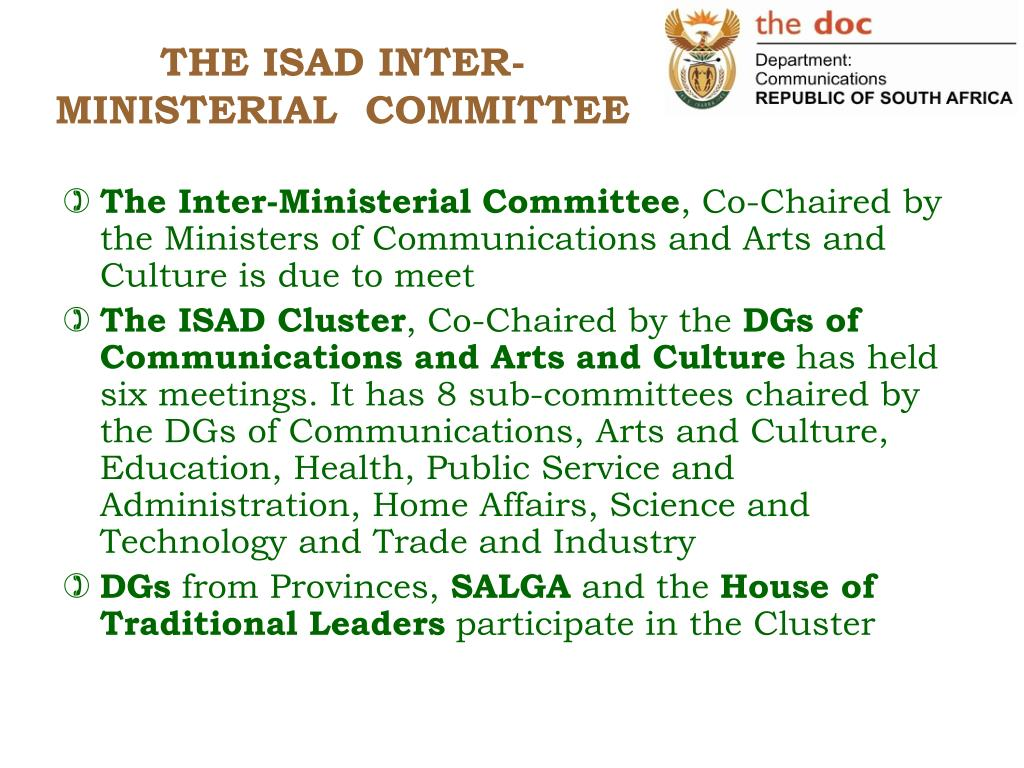 THE ISAD INTER-MINISTERIAL  COMMITTEE