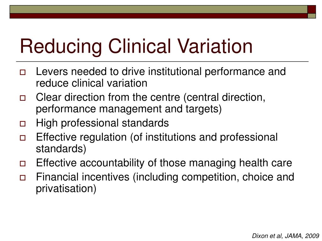 Reducing Clinical Variation