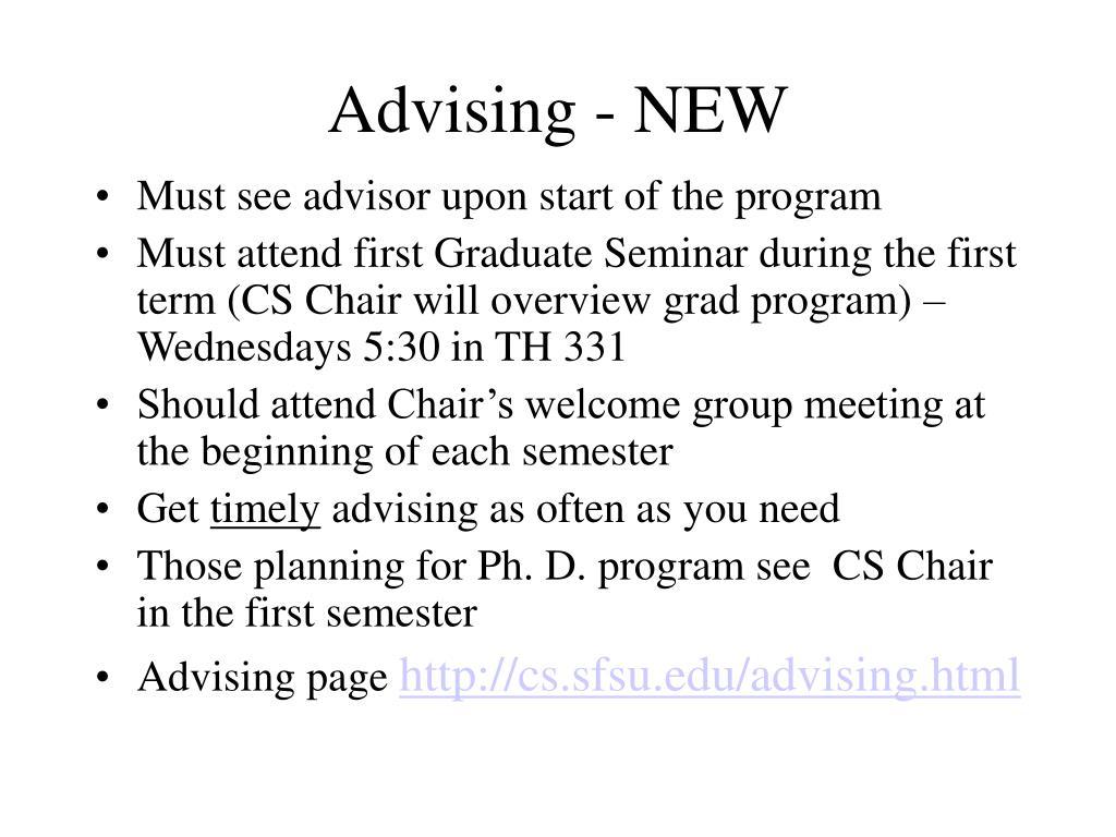 Advising - NEW