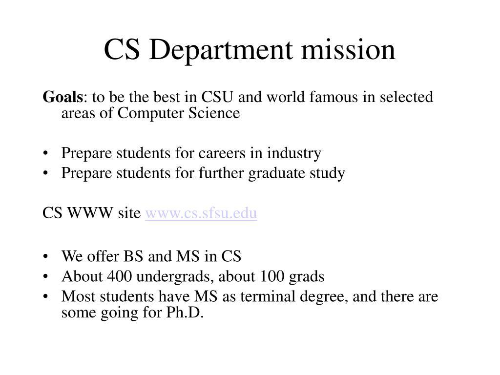 CS Department mission