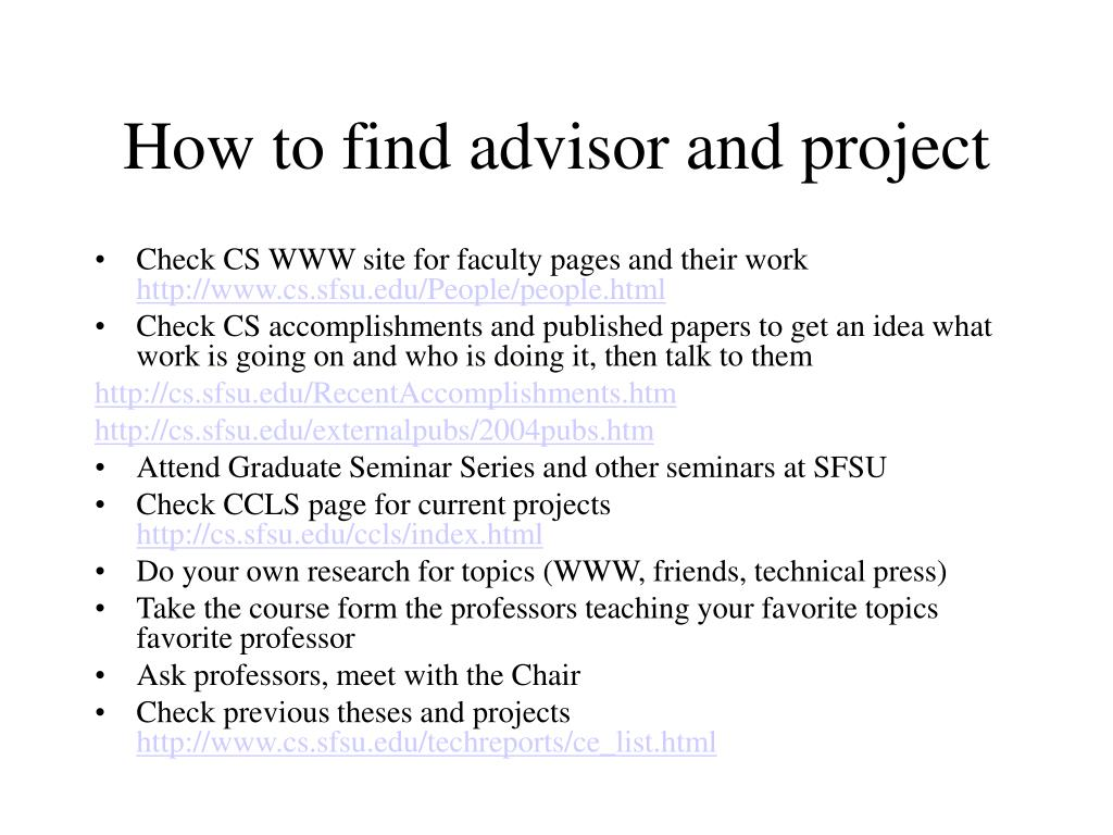 How to find advisor and project
