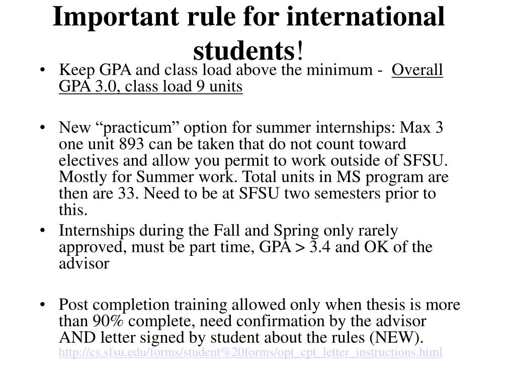 Important rule for international students