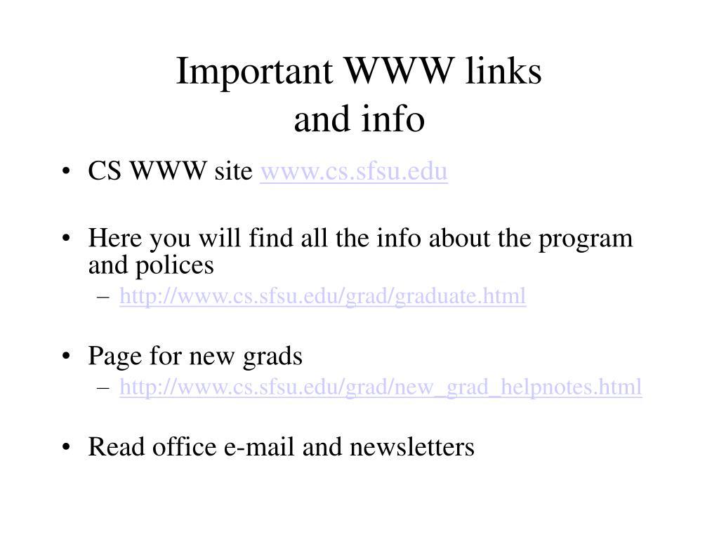 Important WWW links