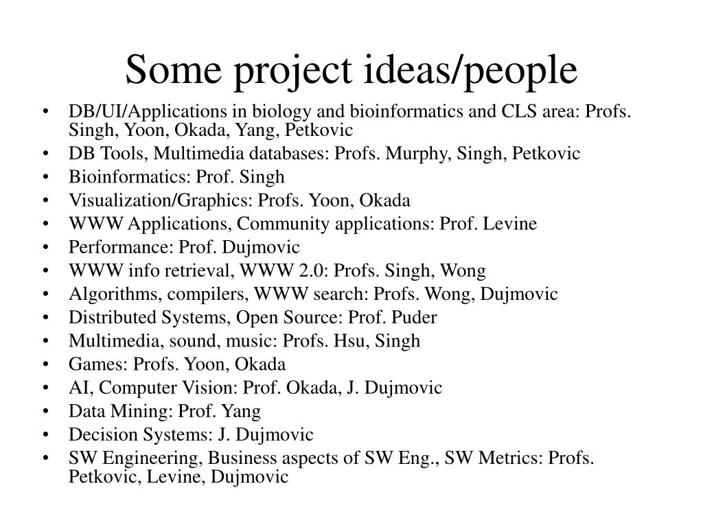 Some project ideas/people