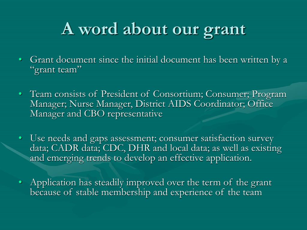 A word about our grant
