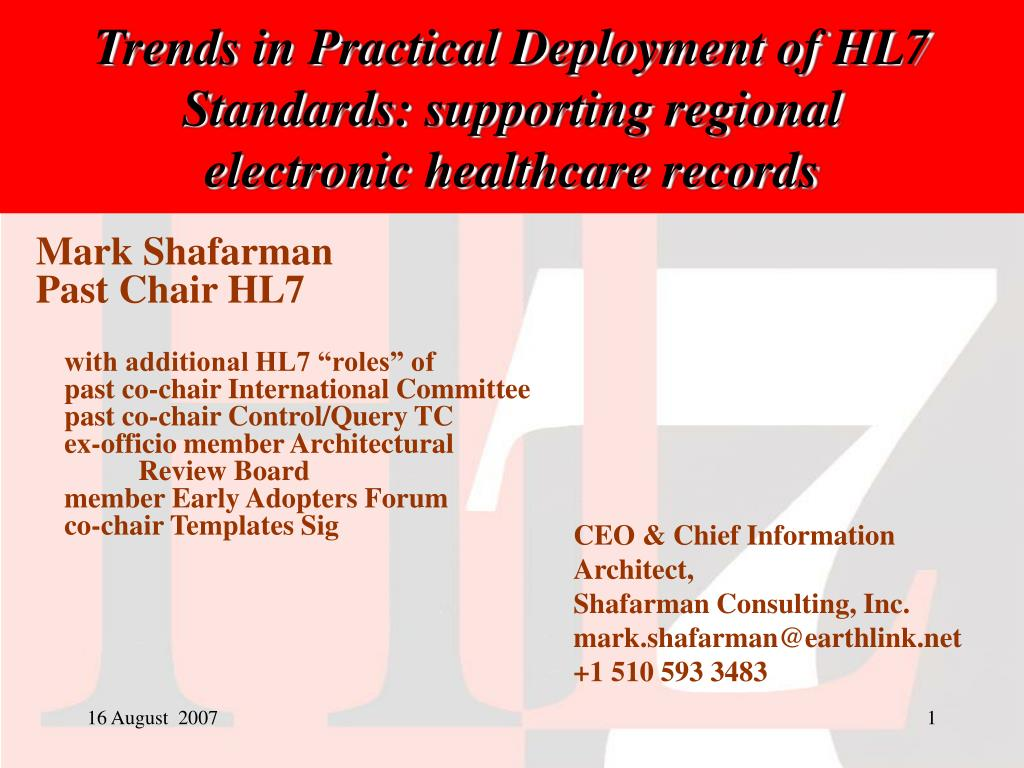 trends in practical deployment of hl7 standards supporting regional electronic healthcare records l.