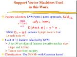 support vector machines used in this work