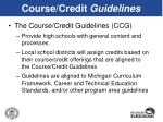 course credit guidelines