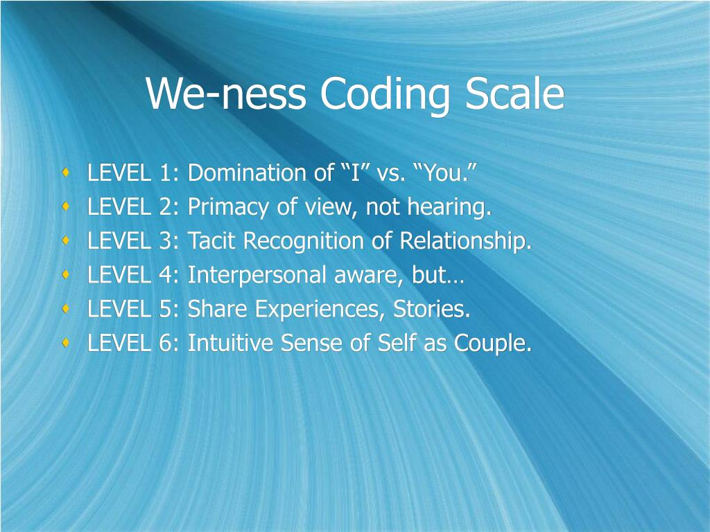 We-ness Coding Scale
